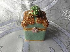RUCINNI Frog Enameled Crystal Collectible Trinket Box