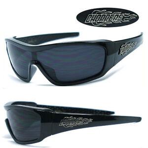 1 Piece Lens Choppers Biker Men Sunglasses - Black C40