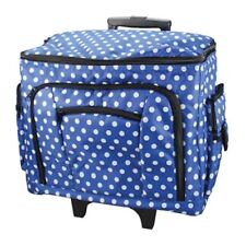 NEW BIRCH BLUE WHITE POLKA DOTS SEWING TROLLEY BAG WITH PULL UP HANDLE