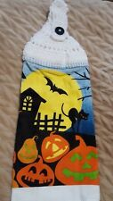 Handmade by June CROCHET TOP HANGING TOWEL Halloween Cat Moon Bat Pumpkins