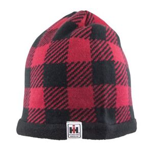 IH INTERNATIONAL HERVESTER *RED & BLACK PLAID* BEANIE Stocking Hat Cap *NEW*