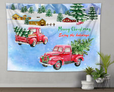 Christmas Tree Pickup Snow Farmhouse Tapestry Wall Hanging Living Room Bedroom