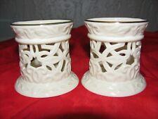 Pair of Lenox Illuminations Versailles Tea Light Candle Holders Ivory Gold Trim