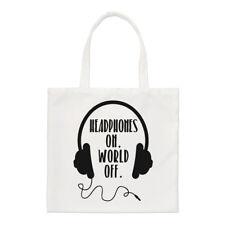 Los auriculares en mundo de Small Tote Bag-Música DJ Gracioso Shopper Hombro