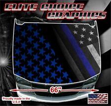 Police Thin Blue Line Flag Vinyl Hood Wrap Bonnet Decal Sticker Graphic