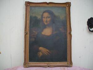 LEONARDO DA VINCI MONALISA oil on canvas  old reproduction