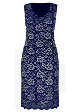 INK blue Silver metallic floral Lace Over layer Shift Dinner party DRESS 20 NEW
