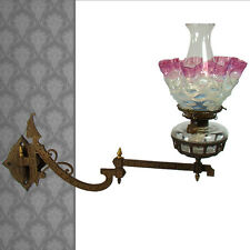 Victorian Cast Iron Bracket Lamp with Cranberry Opalescent Glass Shade - 1861
