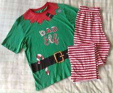 Mens 'Dad Elf' Santa's Helper Christmas PJ's Set/Pyjamas/Loungewear ~ Small/S
