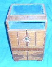 VINTAGE PRISON ARTS & CRAFTS LARGE JEWELRY CHEST ORNATE WOOD INLAY VELVET LINED