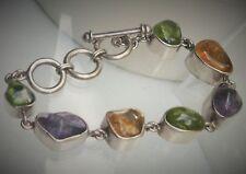 "Starborn Designer 6.5-7.5"" Sterling Silver Amethyst Peridot + Toggle Bracelet"