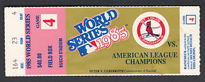 St Louis Cardinals vs Kansas City Royals 1985 World Series Game 4 Ticket Stub