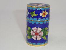 Vintage Cloisonne Enamel Flowers Brass Toothpick Box Container