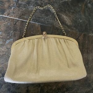 Vintage Gold Shimmer Clutch Chain Handbag