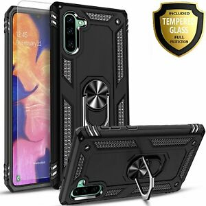 For Samsung Galaxy Note 10 Plus Case, Ring Kickstand + Tempered Glass Protector