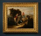 Large Early 19 C. Oil Painting: Figures in a Landscape | Fine Antique Gilt Frame