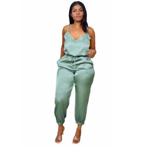 Sexy Women's V Neck Spaghetti Strap Solid Drawstring Club Party Long Jumpsuit