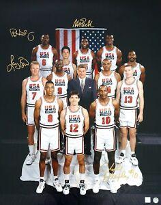 Magic Johnson, Bird, Ewing & Drexler Autographed USA NBA Team 24x36 Photo Proof