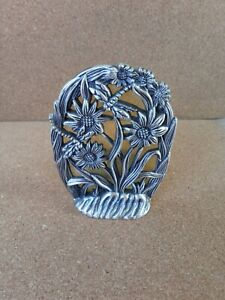 Retro Cherng Yi 1995 Metal  Candle Holder dragonfly and flowers