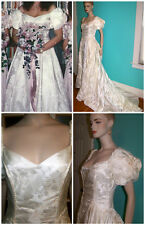 VTG ALFRED ANGELO Ice PInk SATIN Brocade WEDDING GOWN Dress VEIL Clutch S 10-12