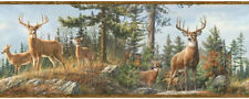 Fern Brown Whitetail Deer Wallpaper Border Chesapeake Wallcovering HTM48463B