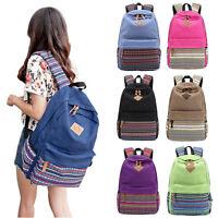 New Ladies Girls Canvas Vintage Backpack Rucksack College Shoulder School Bag UK