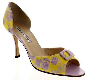 MANOLO BLAHNIK d'Orsay Peep Toe Buckle Pumps High Heel sz 9.5 New