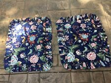 (2) Large Floral-Navy Blue-Ruffled-Standard Shams-Quilted-High Quality!
