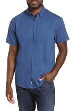 ONIA Men's Button Down Jack Short sleeve Blue Shirt LARGE NWT