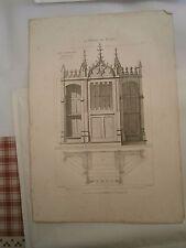 Planche gravure mobilier d'église St Bernard Confessionnal architecte Magne
