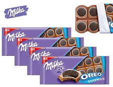 4 x Milka OREO Sandwich Chocolate Bars NEW SHAPE 92g / 3.2oz