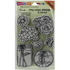 "Stampendous Fran's Cling Stamps & Stencil 5""X7""-Build A Bouquet Set"