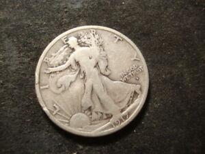 1917-S Obv F VF  Walking Liberty Half Dollar Nice Coin AZX