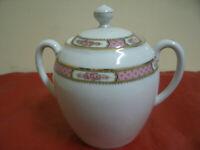 Zuccheriera in Ceramica Ricami Dorati, Rosa Dec.Fiori Made in France 12x17cm