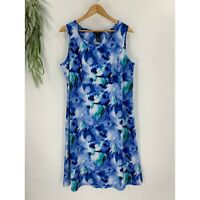 Maggie Barnes Womens Tank Dress plus Size 0X Blue Floral Jersey Knit Pullover