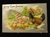 LOVING EASTER GREETINGS Tuck Chicken Chicks Embossed Antique Postcard Ca 1909