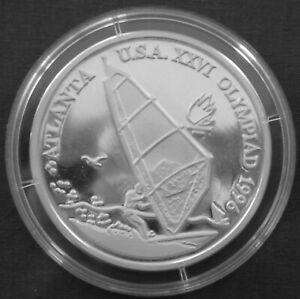 Romania 100 lei Silver Proof 1996 Atlanta Olympics Windsurfing