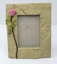 Stone Style Picture Frame With Pink Rose 3x4