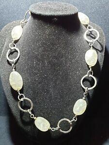 Vintage Sterling Silver 925 White multi stone Quartz large open link Necklace