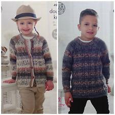 Knitting pattern per bambini Cavo Cardigan & Maglione Splash DK King Cole 4916