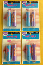 4 X Maybelline Baby Lips Electro Lip Balm  Duo Pack - Quenched & Peach Kiss NEW.