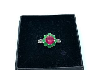 Lovely Sterling Silver Ruby & Chrysoprase Cluster Ring  - Size R