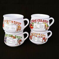 Soup Recipe Ceramic Mug Bowls With Handle Set Of 4 Tomato Onion Chicken Mushroom