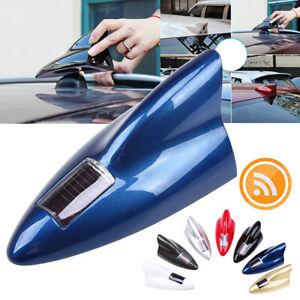 Blue Solar Car Shark Fin dummy Antenna LED 8 Warning Flash Tail Light Shell
