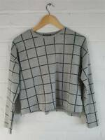 Primark Grey Checked Cropped Jumper Size S UK 10