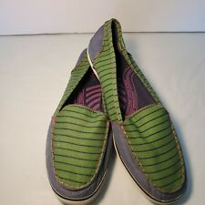 Keds Womens 9 Slip On Canvas Shoe Green Blue Pink Cushioned Insole