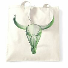 Wireframe Art Tote Bag Geometric Bull Skull Graphic Animal Design Graphic