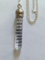 Muslim Necklace/Car hanging printed on glass tube Ayatul Kursi  inside Zamzam