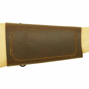 """SAS 6.5"""" Traditional Suede Leather Archery ArmGuard Spring Fastener Cord Lock"""