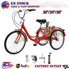 7 Speed Adult Tricycles 3-Wheel Trike Bike Cruiser  Cargo Basket Red 20